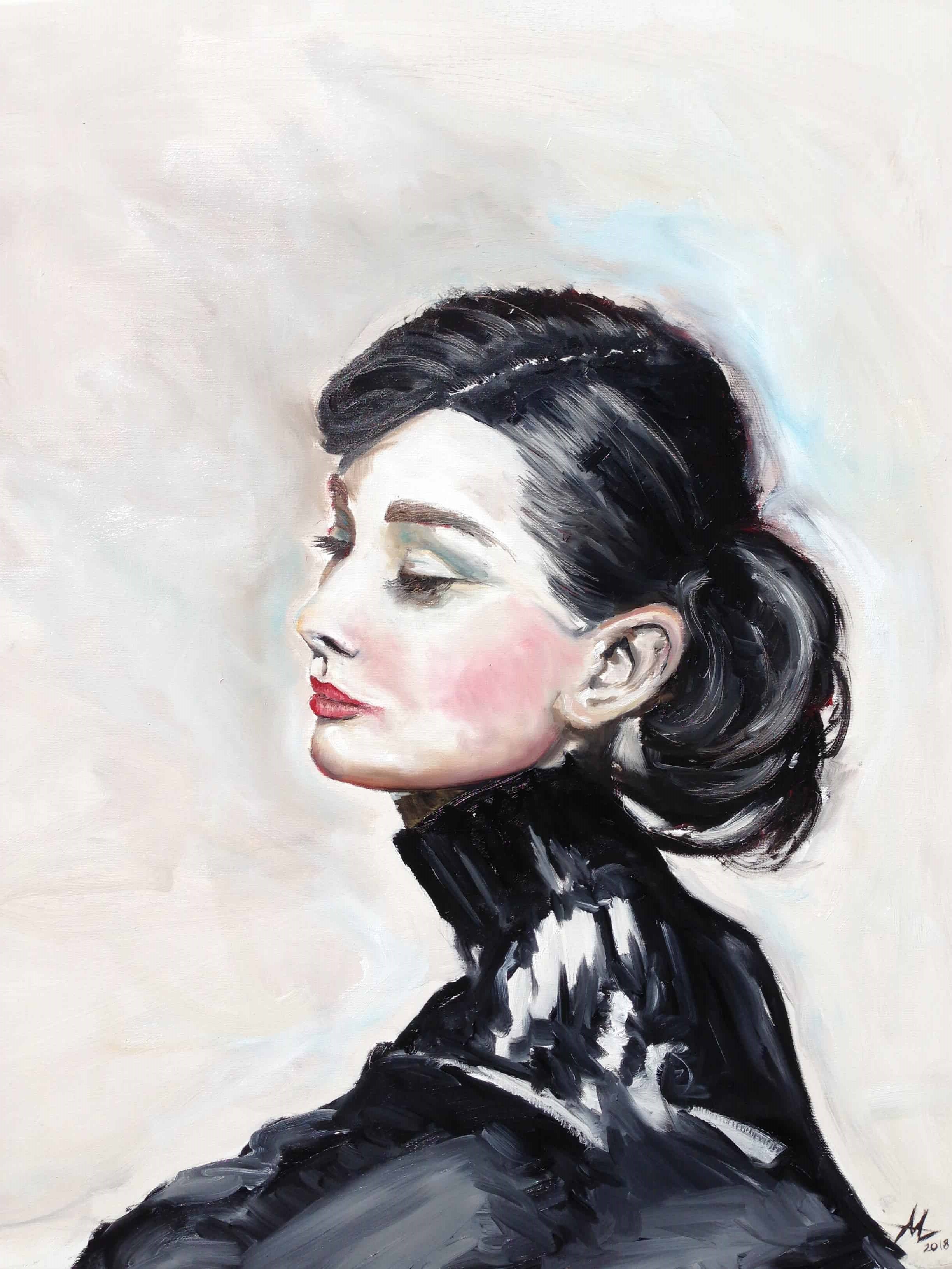 Oil painting of iconic Audrey Hepburn. Portrait painting.